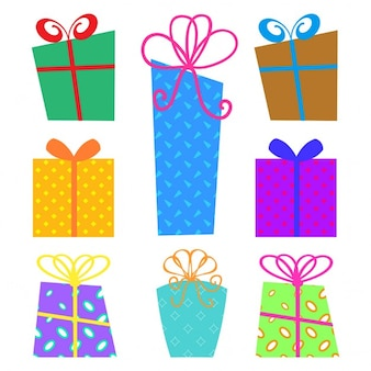 Collection of christmas gift boxes