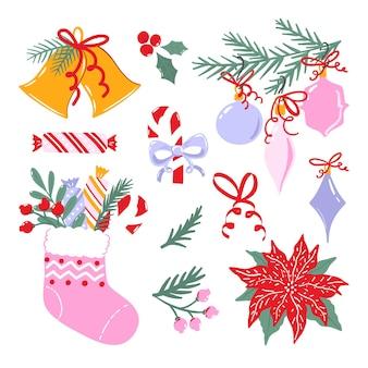 Коллекция рождественских иллюстраций. набор клипарт зимнего отдыха, изолированные на белом фоне