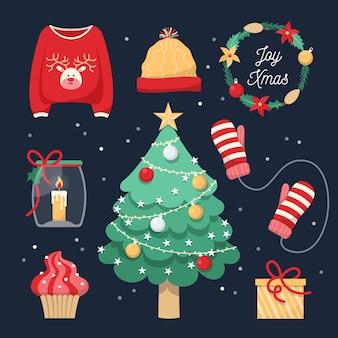 Коллекция рождественских этикеток в плоском дизайне