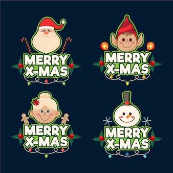 평면 디자인에 크리스마스 라벨의 컬렉션