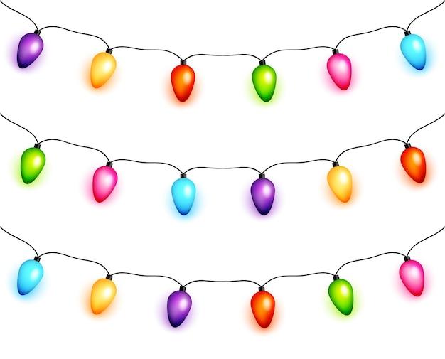 Коллекция рождественских гирлянд из лампочек