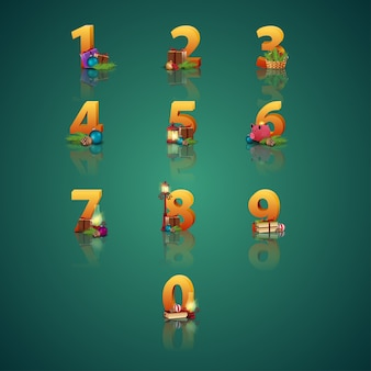 Collection of Christmas numbers.