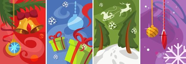クリスマスポスターのコレクション。漫画のスタイルでさまざまなポストカードのデザイン。
