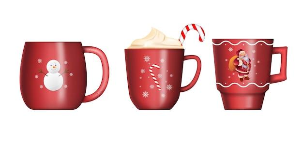 白で隔離のクリスマスの赤いカップのコレクション