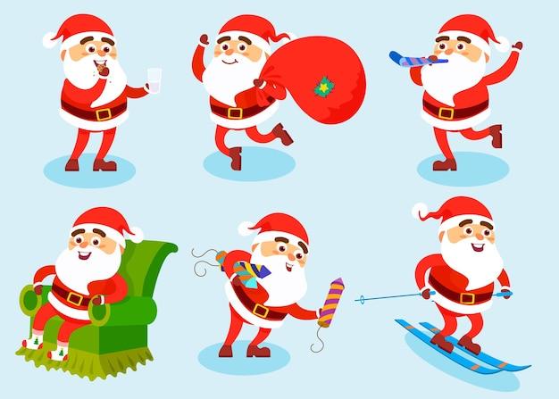 Коллекция рождественских персонажей санта-клауса
