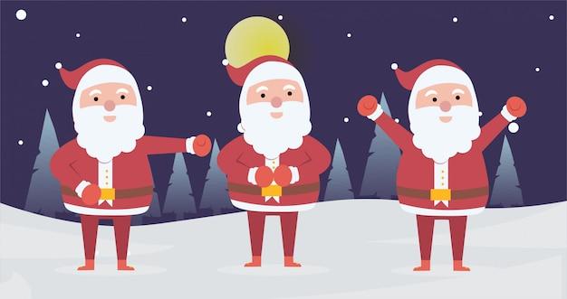 クリスマスの日のためのポーズ活動をしているクリスマスサンタクロースのコレクション