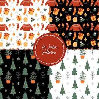 크리스마스 원활한 패턴 벡터의 컬렉션