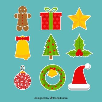Коллекция рождественской наклейки