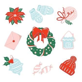 흰색 배경에 고립 된 크리스마스 테마 삽화의 컬렉션 휴일 시즌 클립 아트