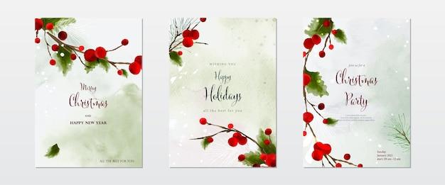 クリスマス水彩自然アート背景セットのコレクション。手描きの水彩画で降る雪の上のヒイラギの葉と枝。カードのデザイン、新年の招待状に適しています。