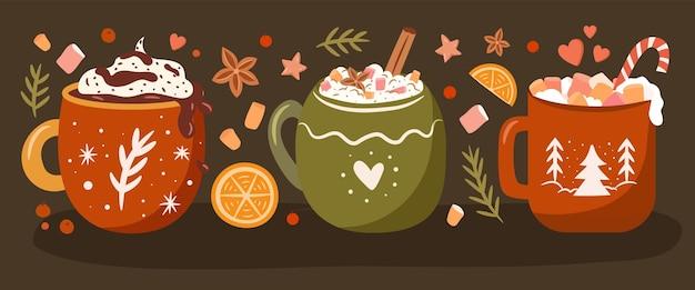 居心地の良いマグカップやお菓子のクリスマス冬の飲み物のコレクション