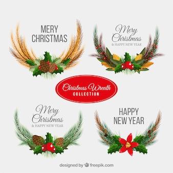 Коллекция рождественских венков в реалистическом стиле