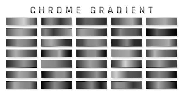 クロームメタリックグラデーションのコレクション。クローム効果のある鮮やかなプレート。