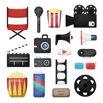 映画の要素と白い背景のディレクター機器のコレクション。映画産業と撮影のコンセプト。