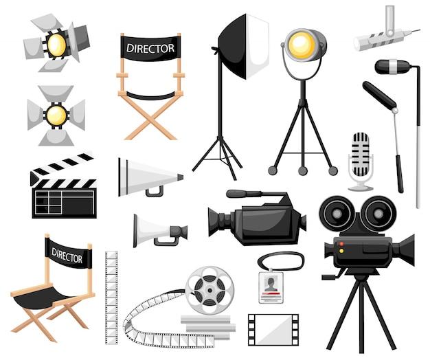 映画のコレクション。映画漫画のアイコンセットを作る。ディレクターチェア、フィルムリール付きムービーカメラ、サーチライト、メガホン、カチンコ。ヴィンテージ映画のコンセプト