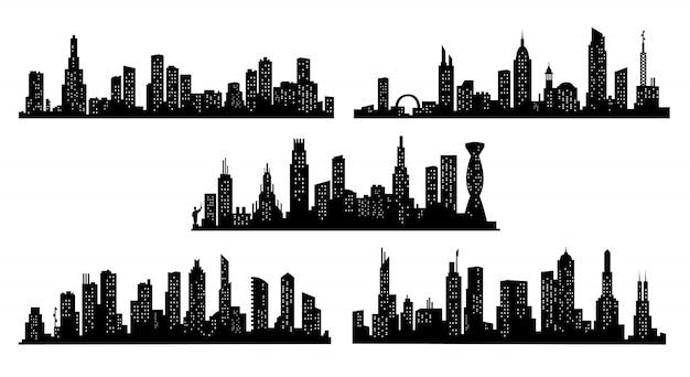 도시 실루엣의 컬렉션입니다. 현대 도시 풍경. 투명 한 배경에 도시 건물 실루엣입니다. 평면 스타일의 창문이있는 도시의 스카이 라인