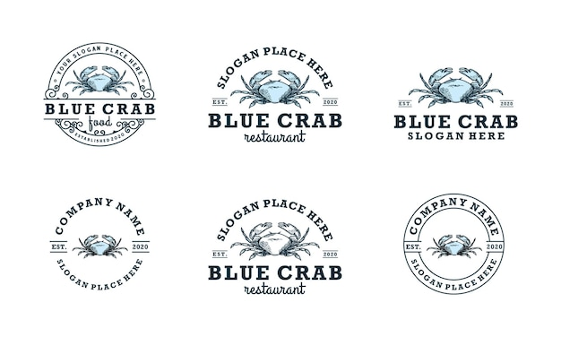 古典的なカニのロゴのデザインテンプレートのコレクション