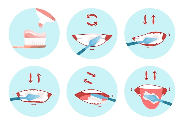 Коллекция изображений чистых зубов. стоматологическая зубная щетка. используйте гигиеническую зубную щетку для зубов. концепция ухода за полостью рта. пошаговая гигиена полости рта и зубов.