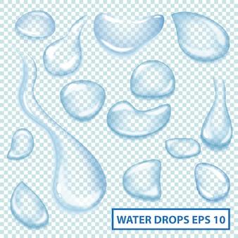 澄んだ水滴の収集。シャイニーアクアドロップセット。ベクトルイラストは、webデザインやその他の工芸品に使用できます