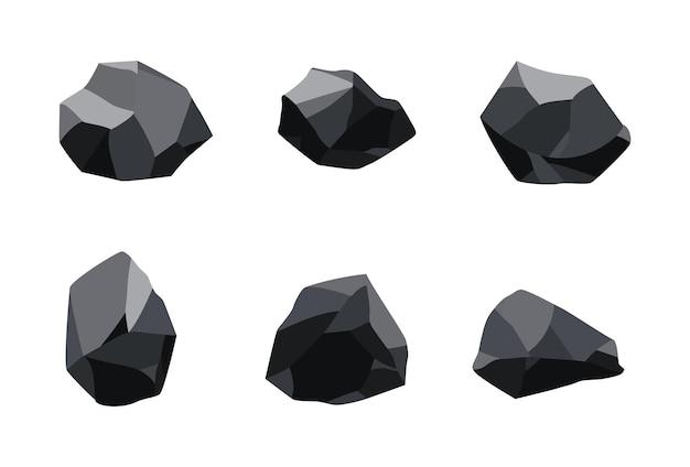 石炭黒鉱物資源の収集。化石の破片。多角形のセット。グラファイトまたは木炭の黒い岩石。エネルギー資源の木炭アイコン。