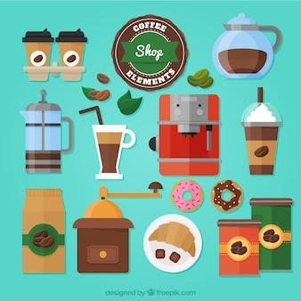 フラットなデザインのコーヒーアクセサリーのコレクション