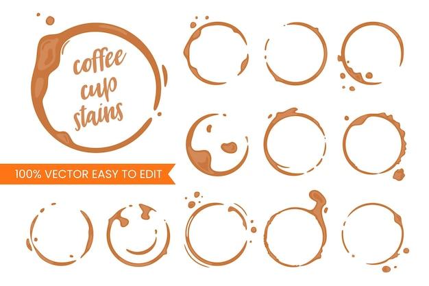 커피 컵 둥근 얼룩의 컬렉션입니다. 벡터 상품 및 흰색에 밝아진.