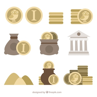 Collection of coins in flat design