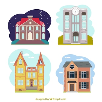 Коллекция цветных фасадов зданий в плоской конструкции