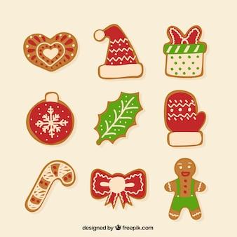 Collection of colored christmas ginger cookies