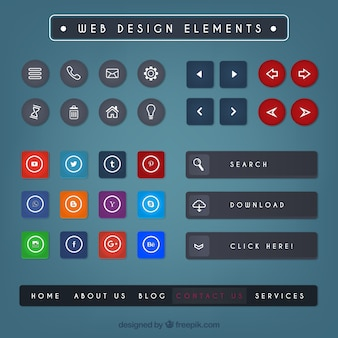 Collection of colored web design elements