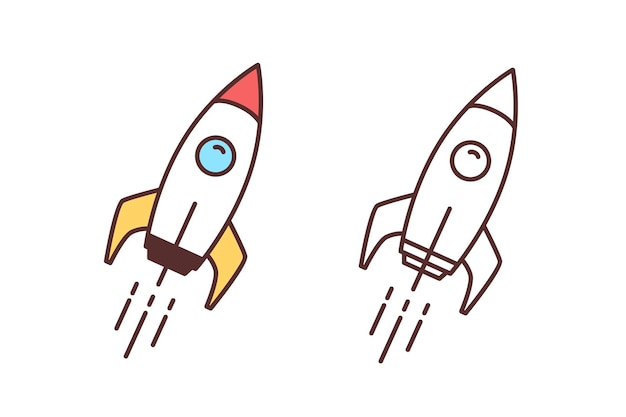 비행 우주선, 우주선 또는 셔틀의 다채롭고 단색 그림 모음. 우주 비행, 우주 여행 또는 임무. 성간 로켓 발사. 라인 아트 스타일의 벡터 일러스트 레이 션.
