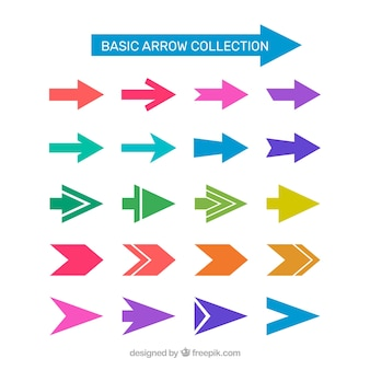Collection of colorful arrow in flat design