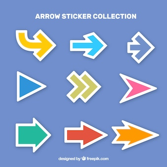 Collection of colorful arrow sticker in flat design