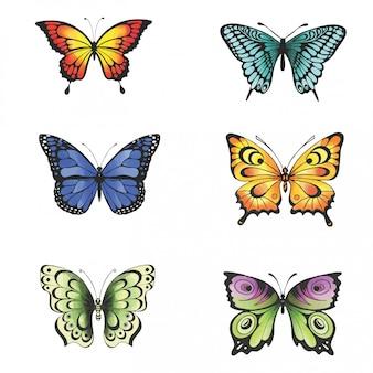 Коллекция красочных бабочек в стиле акварели