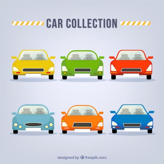 전면에서 화려한 자동차의 컬렉션
