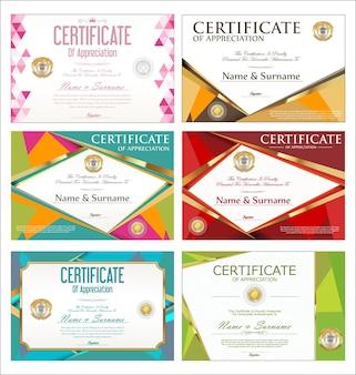 カラフルな証明書または卒業証書のレトロなデザインテンプレートのコレクション