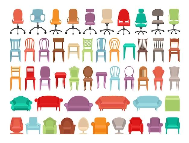 Коллекция красочных стульев, кресел и диванов.