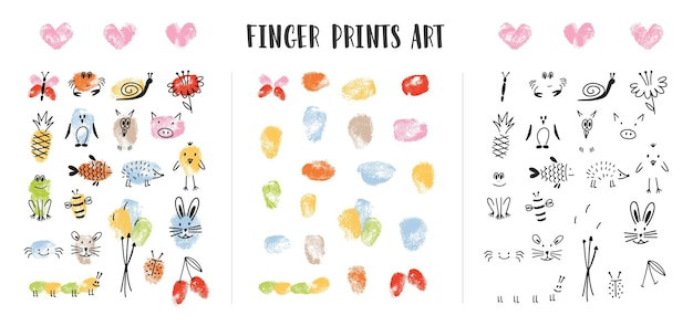 흰색 배경에 격리된 사랑스러운 동물의 얼굴로 장식된 다채로운 지문 모음입니다. 어린이를 위한 예술 디자인 요소 번들. 유치 한 다채로운 손으로 그린 벡터 일러스트 레이 션.