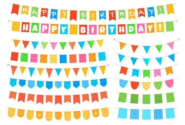 다채로운 플래그 화환 컬렉션 휴일 인사말 카드 초대장 디자인 요소 집합입니다...