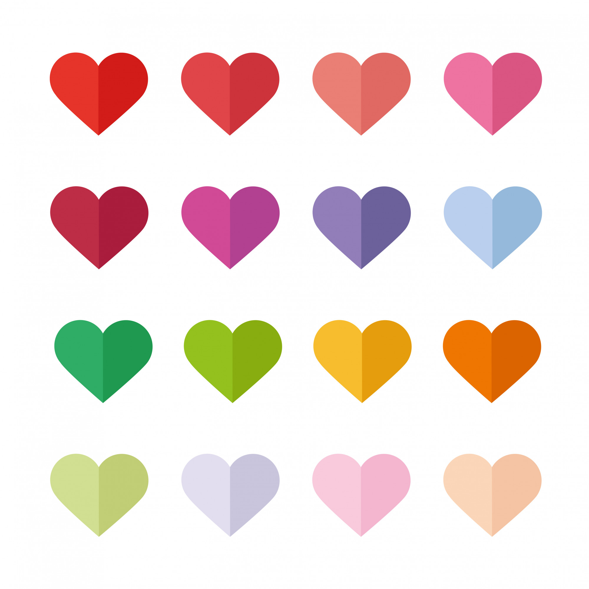 Collection of colorful flat hearts