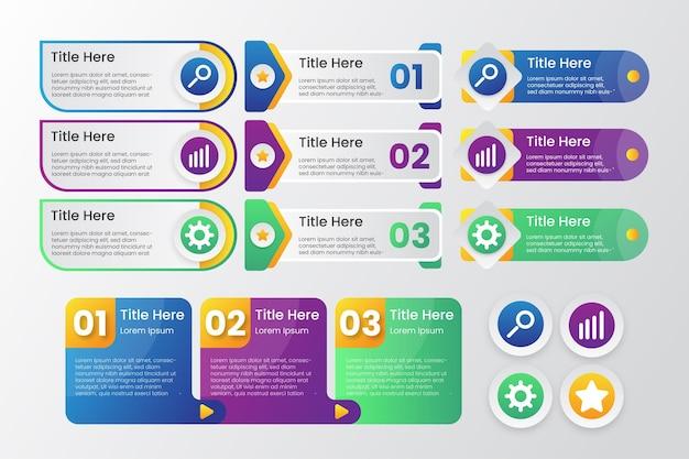 다채로운 그라데이션 infographic 현대 템플릿 벡터의 컬렉션