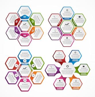 다채로운 육각형 인포 그래픽의 컬렉션입니다.