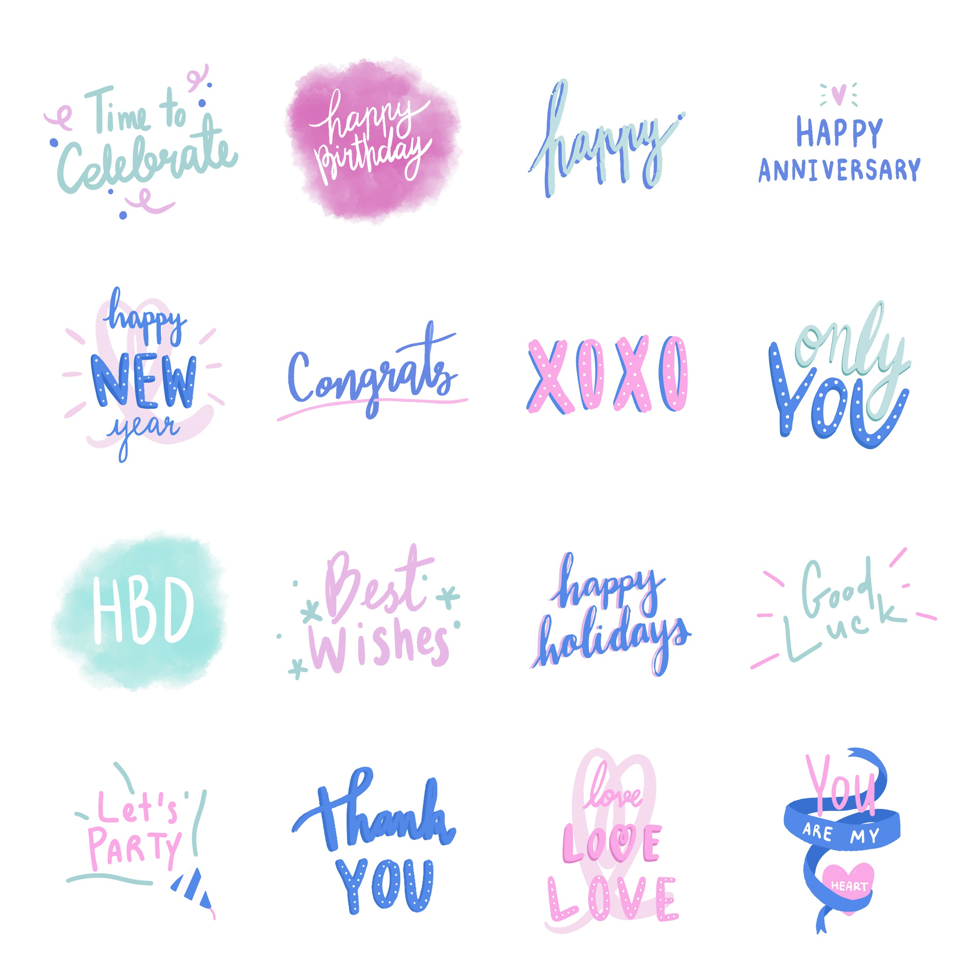 Collection of colorful love typography vectors