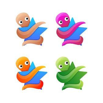 Коллекция красочных дизайнов осьминога