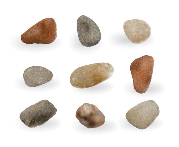 Коллекция красочных круглых речных камешков