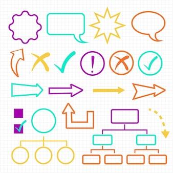 Коллекция красочных школьных инфографических элементов