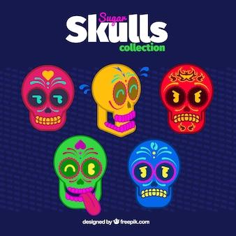 カラフルな頭蓋骨のコレクション