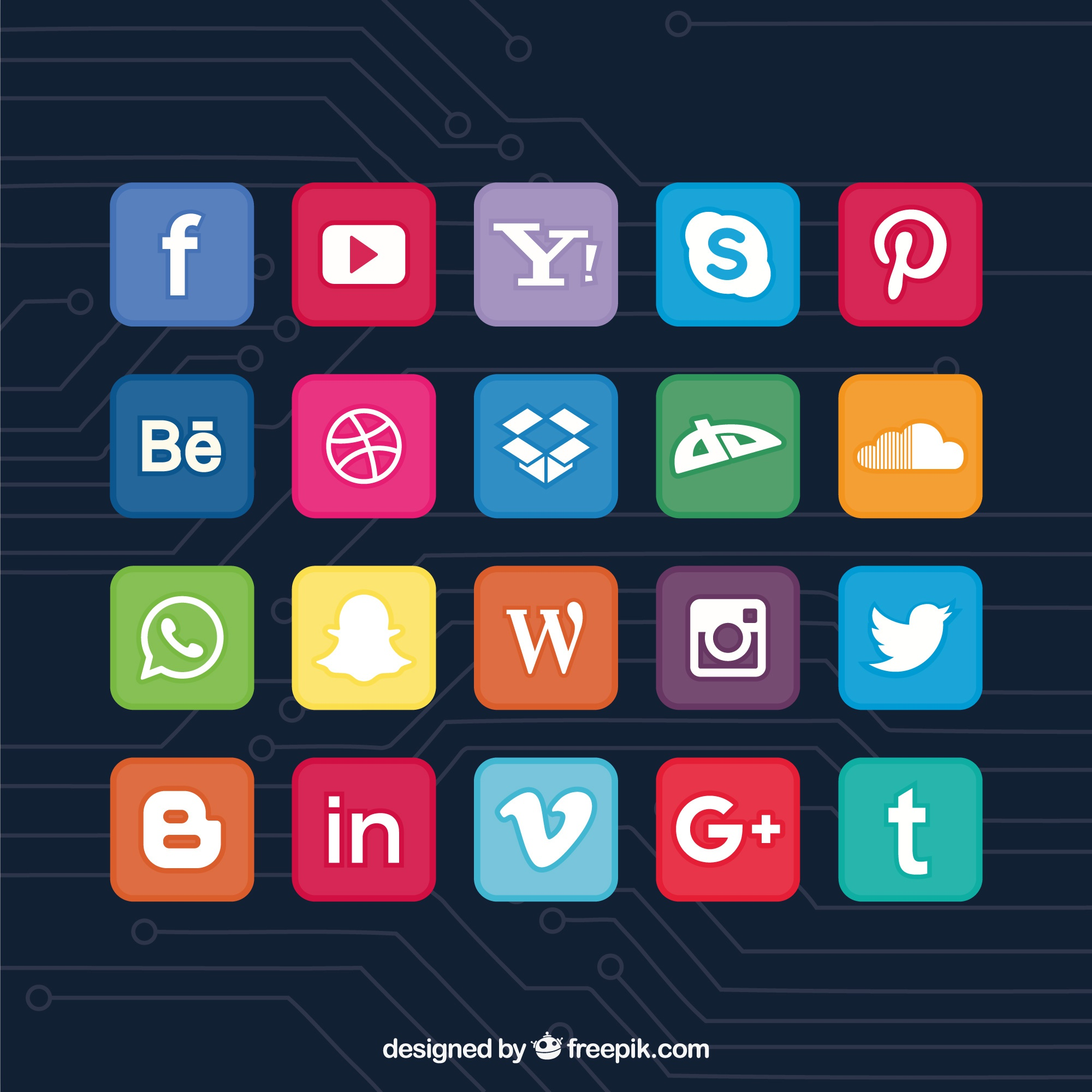Collection of colorful social network icons