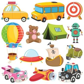 화려한 장난감 및 개체의 컬렉션