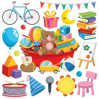 Коллекция красочных игрушек и предметов